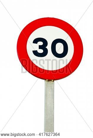 Speed limit traffic sign showing 30