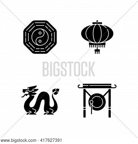 Lunar New Year Attributes Black Glyph Icons Set On White Space. Bagua, Feng Shui. Paper Lantern. Loo
