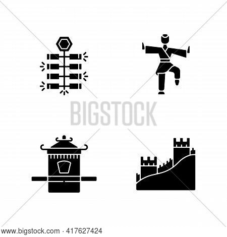 Traditional China Black Glyph Icons Set On White Space. Chinese Firecrackers. Kung Fu. Sedan Chair.