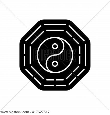 Bagua Black Glyph Icon. Harmony Of Elements. Spirituality And Cosmology. Zen, Feng Shui. Traditional