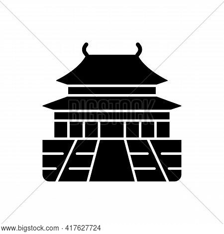 The Forbidden City Black Glyph Icon. Chinese Traditional Ancient Structure. Place For Tourist In Chi