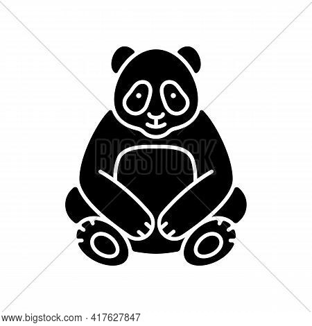 Big Panda Black Glyph Icon. Traditional Chinese Animal. Beijing Zoo Mascot. Endangered Species Prote