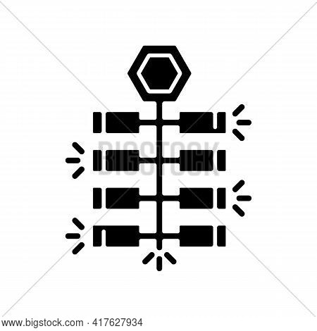 Chinese Firecrackers Black Glyph Icon. Lunar New Year Celebration. Crackers, Festive Explosion. Cult