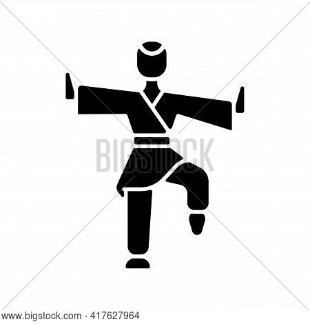 Kung Fu Black Glyph Icon. Martial Arts Training. Karate Class. Traditional Fighting. Chinese Athlete