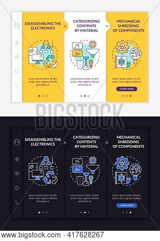E-trash Recycle Plan Onboarding Vector Template. Responsive Mobile Website With Icons. Web Page Walk