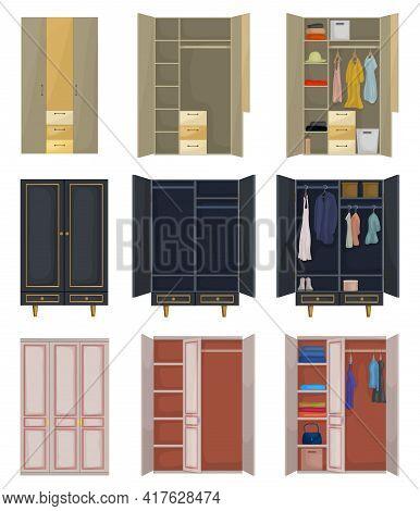 Cupboard Vector Cartoon Set Icon. Vector Illustration Closet On White Background. Isolated Cartoon S