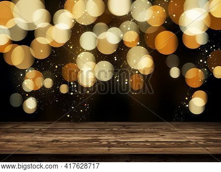 Wooden Table Top On A Golden Bokeh Abstract Background. Glittering Particles Of Gold In The Dark Nig