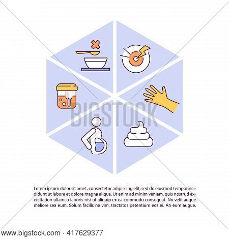 Liver Disease Symptoms Concept Line Icons With Text. Ppt Page Vector Template With Copy Space. Broch