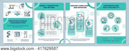 Prosthesis Design Considerations Brochure Template. Energy Usage. Flyer, Booklet, Leaflet Print, Cov