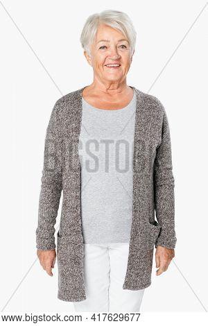 Senior woman wearing comfortable loungewear studio portrait
