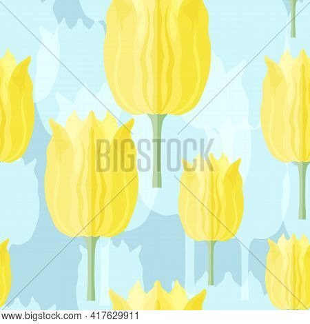 Seamless Pattern With Varietal Yellow And Blue Tulips. Blue Silhouettes Of The Same Tulip On The Blu