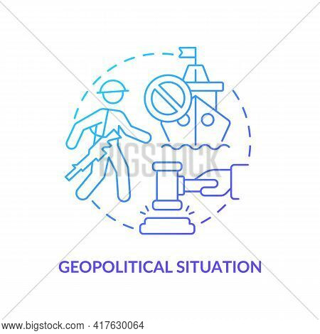 Geopolitical Situation Concept Icon. Oil Price Factor Idea Thin Line Illustration. Financial Stabili