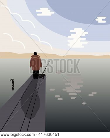A Woman In Warm Clothes On The Shore Of The Lake Fishing With A Fishing Rod. Vector Illustration. A