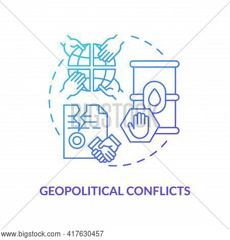 Geopolitical Conflicts Concept Icon. Energy Security Idea Thin Line Illustration. Political Factor.