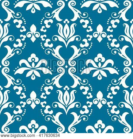 Damask Elegant Vector Seamless Pattern, Victorian Textile Or Fabric Print Design With Flowers, Swirl