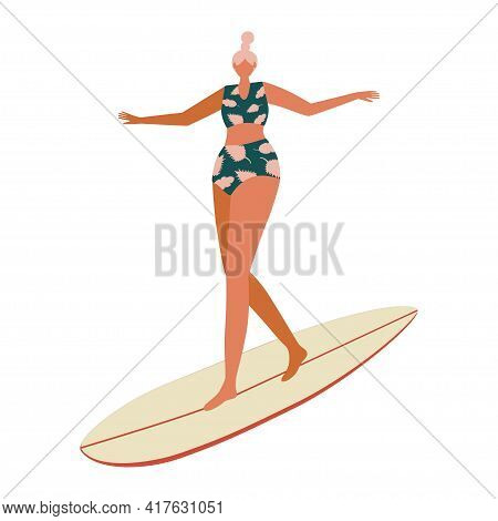 Girl Surfer Character In A Tropical Print Swimsuit And With A Surfboard. Summer Illustration For Pri