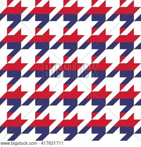 Hundstooth Pattern Design In Usa Colors - Funny Drawing Seamless Ocelot Pattern. Poster Or T-shirt T