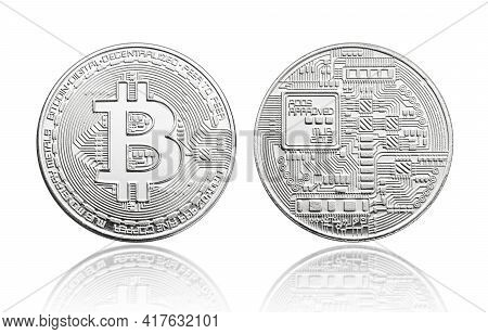 Silver Bitcoin Coin Isolated On White Background. Cryptocurrency