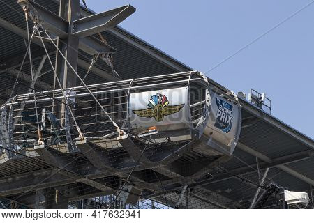 Indianapolis - Circa April 2021: Indianapolis Motor Speedway Flag Stand At The Start-finish Line. Im