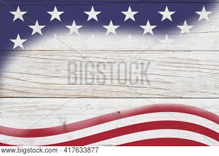 Retro American Patriotic Background With Grunge Usa Flag Stars On Whitewash Wood With Copy Space For