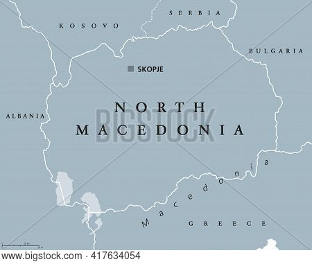 North Macedonia, Gray Political Map, With Its Capital Skopje. Republic And Landlocked Country In Sou