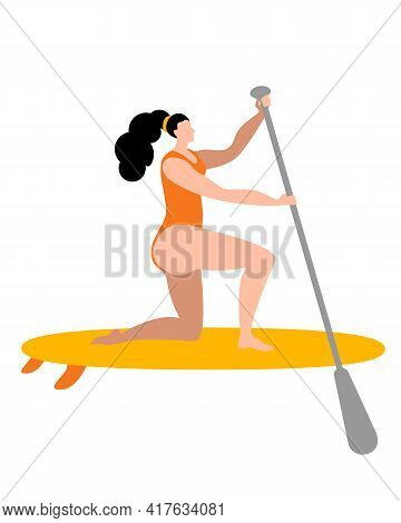 A Girl In A Swimsuit With A Paddle Stands On A Surfboard. Isolated Vector Illustration In A Flat Sty
