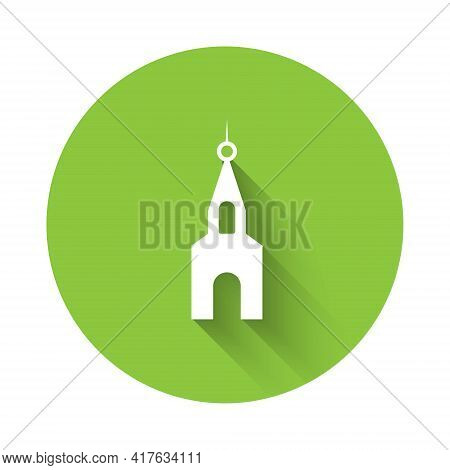 White Church Building Icon Isolated With Long Shadow. Christian Church. Religion Of Church. Green Ci