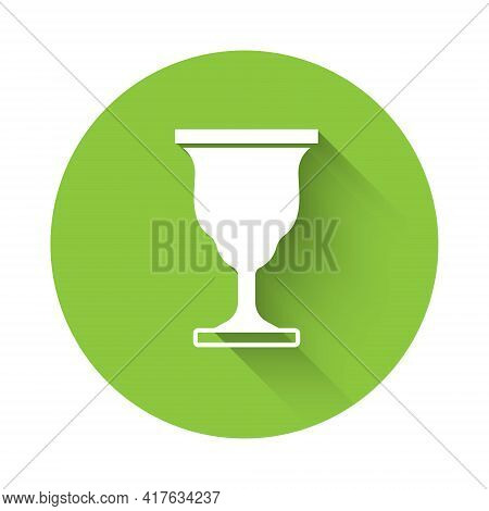 White Christian Chalice Icon Isolated With Long Shadow. Christianity Icon. Happy Easter. Green Circl