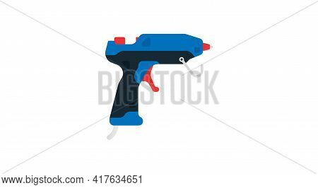 Electric Glue Gun Side View. Power Tools For Home, Construction And Finishing Work. Professional Wor