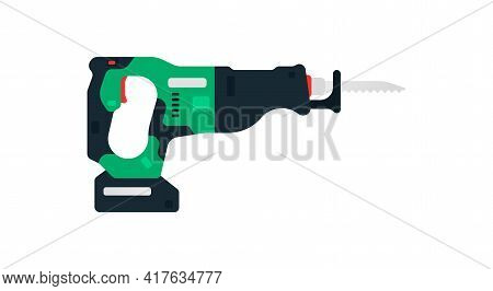Cordless Recip, Reciprocating Saw Side View. Power Tools For Home, Construction And Finishing Work.