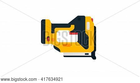 Pneumatic Nailer Side View. Power Tools For Home, Construction And Finishing Work. Professional Work