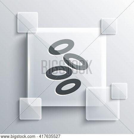 Grey Medical Hemoglobin Erythrocytes Icon Isolated On Grey Background. Square Glass Panels. Vector
