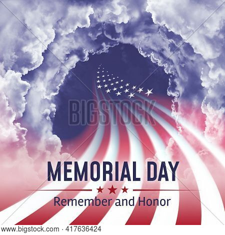 Holiday - Memorial Day In The Usa. Abstract United States Flag On A Cloudy Sky Background. Lettering