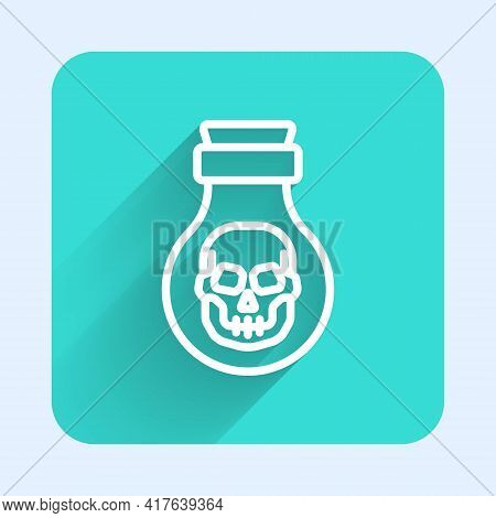 White Line Poison In Bottle Icon Isolated With Long Shadow. Bottle Of Poison Or Poisonous Chemical T