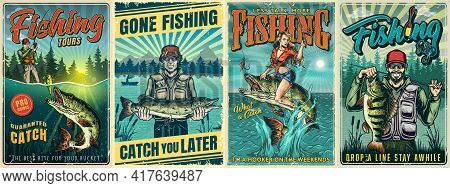 Fishing Vintage Posters With Fishermen And Caught Fishes And Attractive Woman Holding Fishing Rod An