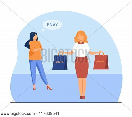 Poor Woman Feeling Envy To Rich Lady. Luxury, Bag, Money Flat Vector Illustration. Wealth And Povert