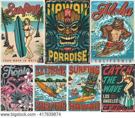 Surfing Vintage Colorful Posters Composition With Skeleton Pretty Girls Funny Bear Man In Tiki Mask