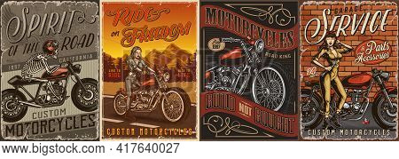 Custom Motorcycle Vintage Posters With Skeleton Moto Rider Pretty Biker Girl And Beautiful Winking W
