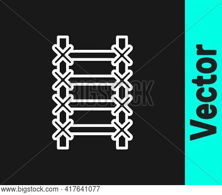 White Line Fire Escape Icon Isolated On Black Background. Pompier Ladder. Fireman Scaling Ladder Wit