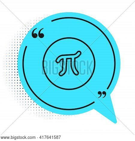 Black Line Pi Symbol Icon Isolated On White Background. Blue Speech Bubble Symbol. Vector