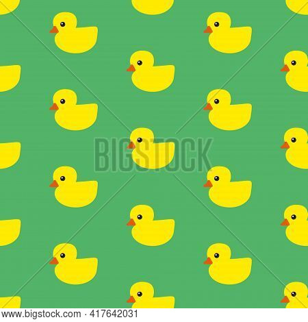 Yellow Rubber Ducks With Orange Beaks And Black Eyes On Green Background, Seamless Pattern