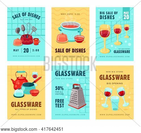 Sale Brochure Designs With Kitchen Utensils. Bright Promotion For Shop Or Store With All Types Of Di