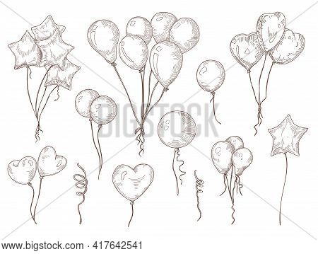 Balloons On String Hand Drawn Illustrations Set. Bunch Of Birthday, Carnival Balloons For Decoration