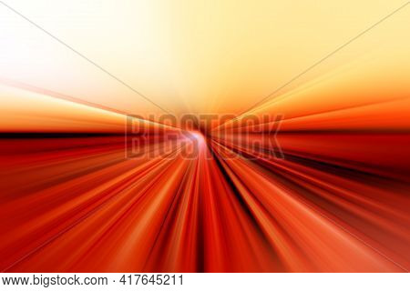 Abstract Surface Of Radial Blur Zoom In Orange, Red, Yellow Tones. Bright Colorful Background With R