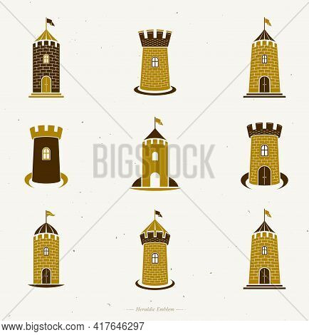 Ancient Forts Emblems Set. Heraldic Coat Of Arms Decorative Logos Isolated Vector Illustrations Coll