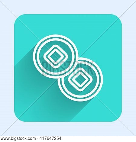 White Line Chinese Yuan Currency Symbol Icon Isolated With Long Shadow. Coin Money. Banking Currency