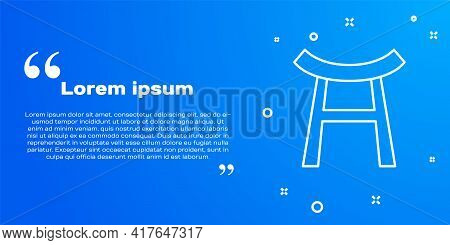 White Line Japan Gate Icon Isolated On Blue Background. Torii Gate Sign. Japanese Traditional Classi