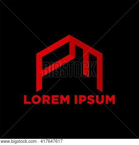 Creative, Simple And Elegant Initial Letter Fm Or Pm Logo Template In Flat Design Monogram Illustrat