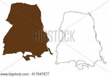 Frankfurt Oder City (federal Republic Of Germany, Urban District, State Of Brandenburg) Map Vector I