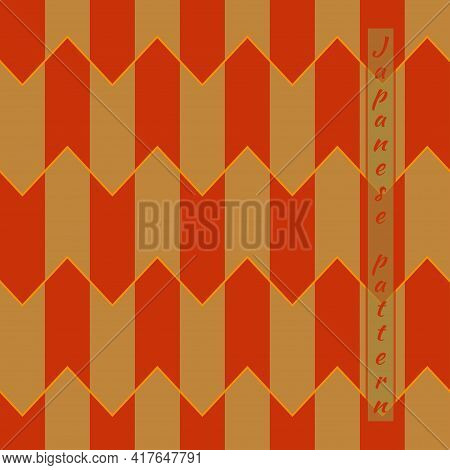 Traditional Japanese Pattern, Plumage Of Arrows From Bird Feathers, Colorful Tiles On Roofs Of House